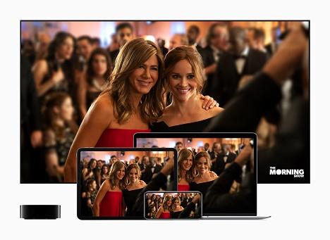 Zum Launch wird Apple TV+ unter anderem die Dramaserie 'The Morning Show' von und mit mit Reese Witherspoon und Jennifer Aniston zum Abruf bereitstellen (Fotoquelle: Apple)