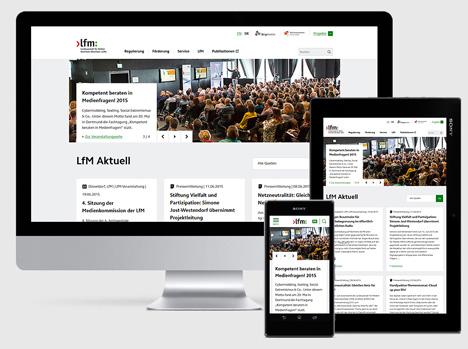 Die neue Homepage der Landesanstalt für Medien Nordrhein-Westfalen ist responsiv und barrierefreie (Foto: B+D)