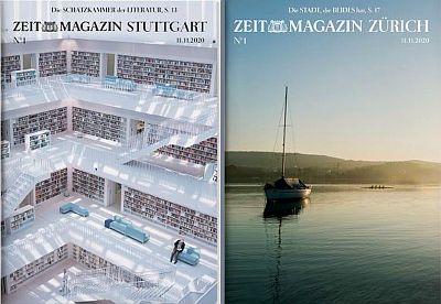 Regionalausgaben für Stuttgart (l.) und Zürich (vorläufige Cover-Entwürfe)