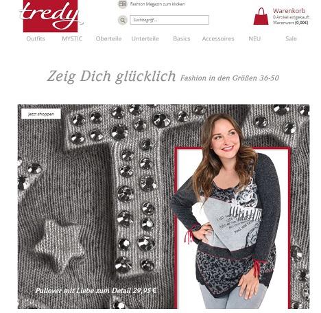 Damenmode-Anbieter tredy-fashion entschied sich beim Pitch für Echtzeit (Screenshot: tredy-fashion.de)